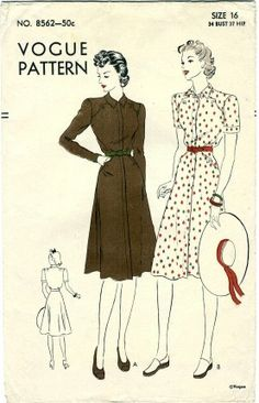 Vogue 8562; ca. 1939; Concealed fly-front closing from neck to hem with buttons or slide fastener. Shaped front seams below the shoulders and at hips conceal inset pockets. Button and buttonhole fastening optional. The flared skirt joins the blouse under novelty belt. Long fitted sleeve or short sleeves with applied band at bottom. [insert your photos of this pattern made up]