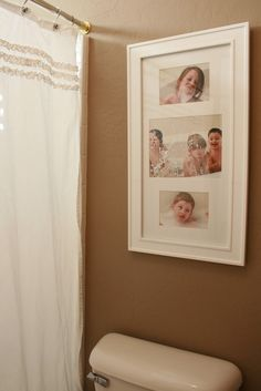 Pictures of kids in the tub in the bathroom.