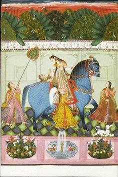 """Woman Riding a Horse "" Present Location: Patna, Vinod Krishna Kanoria… Mughal Miniature Paintings, Mughal Paintings, Indian Art Paintings, Rajasthani Painting, Rajasthani Art, Indian Traditional Paintings, Traditional Art, India Painting, Indian Folk Art"
