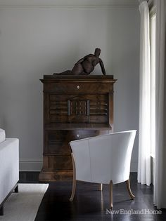 Cabinet,  sculpture, chair  all great