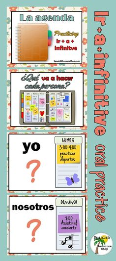 Great oral practice in class for the Spanish Ir+a+infinitive.  Students must tell what the planned activity is suing the correct grammar.