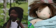Discussing doll hair: commercial weft (camel and mohair pictured). Left was hand-sewn to the doll, the right was crocheted into a cap with matching yarn (via fig and me).