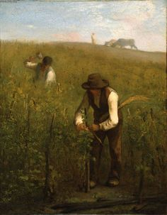 In the Vineyard Jean-François Millet, Oil on canvas Millet Paintings, Paintings I Love, French Paintings, Claude Monet, Jean Francois Millet, Barbizon School, Realism Art, Museum Of Fine Arts, French Artists