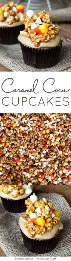 The ultimate caramel cupcakes for Halloween. Caramel cupcakes topped with caramel frosting and caramel corn | by Lauren Kapeluck for TheCakeBlog.com