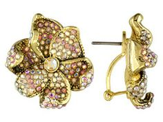 Carolina Amato Jewelry Collection (Tm) 14k Yellow Gold Over Brass Pink Crystal Flower Earrings