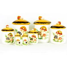 OMG - my mom used to have these when I was growing up! Mushroom Canister Set, $116, now featured on Fab.