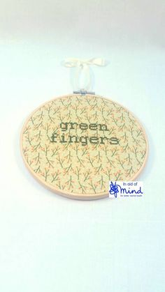Green Fingers KIT or GIFT embroidery 6 hanging by hopetheblackdog