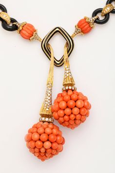 1970s Carved Black and Orange Coral Diamond Gold Drop Necklace