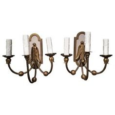 Large American Polished Brass Three-Light American Sconces, Early Century For Sale at Brass Mirror, Brass Sconce, Candle Sconces, Wall Sconces, Polished Brass, Solid Brass, Wall Lights, Ceiling Lights, Scroll Design