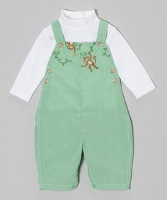 Look at this Petit Ami Green Check Monkey Overalls & Turtleneck - Infant on #zulily today!