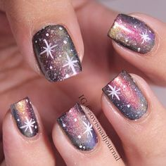 <3<3<3PURPLE BASE 4 GALAXY NAILS - LOOKS GREAT!<3<3<3