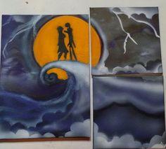 Jack and Sally moonlight - Rotten Apple Arts (Albert Mish ) - Paintings & Prints Entertainment Movies Animation & Anime - ArtPal Apple Art, Jack And Sally, Nightmare Before Christmas, Deep Purple, Superhero Logos, Moonlight, Animation, Entertaining, Canvas