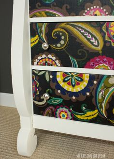 decoupage dresser mod podge fabric makeover, chalk paint, decoupage, home decor, painted furniture, reupholster, woodworking projects