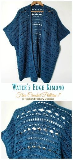 Water's Edge Kimono Cardigan Crochet Free Pattern - Women F. Water's Edge Kimono Cardigan Crochet Free Pattern – Women Free P Kimono Crochet, Cardigan Au Crochet, Black Crochet Dress, Crochet Jacket, Beau Crochet, Pull Crochet, Knit Crochet, Crochet Tops, Crochet Braids