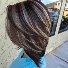 Dark Brown Hair With Ash Blonde Highlights Dark Brown Hair With Blonde Highlights, Blonde Foils, Frosted Hair, Short Dark Hair, Short Hair Styles, Hair Beauty, Haircut Bob, Bob Haircuts, Nails