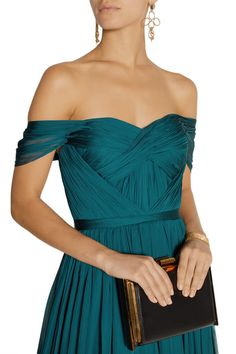 Teal silk-chiffon Concealed hook and zip fastening at back 100% silk  Dry clean