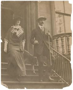 A rare 1911 press photo of the most famous-and richest- Titanic victim John Jacob Astor along with his wife and pet Airedale terrier