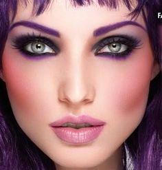MakeUp - Whole Face - Purple Hue's - Purple EyeBrows
