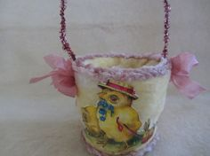 super adorable Easter basket of Cotton Batting Pale Yellow Easter by vintagecornucopia