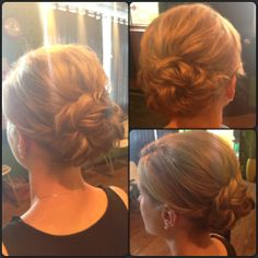Low updo. Simple style. Medium length hair.