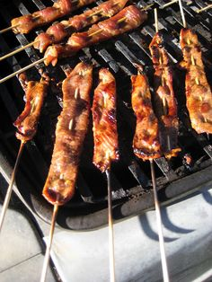 Polynesian meat on a stick-looks good.
