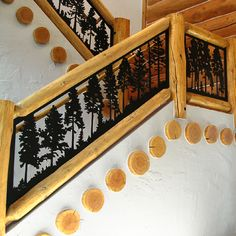 Balcony Panels Photo Gallery   J. Dub's Metalworks Metal Stair Railing, Staircase Handrail, Rustic Vintage Decor, Vintage Cabin, Gate Design, House Design, Rustic Staircase, Carved Wood Signs, Brick And Wood