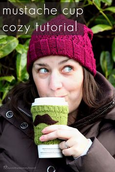 Mustache Cup Cozy Tutorial via luvinthemommyhood!  For Amanda and Kris...