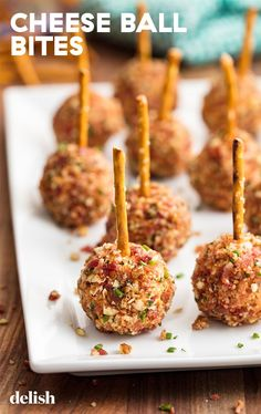 The 61 Most Delish Thanksgiving Appetizers Warning: They're so good, you might not make it to turkey. (On the pic:Loaded Cheese Ball Bites) Delish Bite Size Appetizers, Holiday Appetizers, Holiday Recipes, Appetizer Ideas, Easter Appetizers, Dinner Recipes, Dinner Menu, Brunch Recipes, Party Appetizer Recipes
