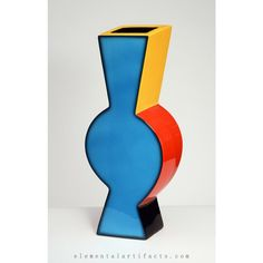 Fred Stodder Ceramic Vase. Brightly glazed abstract ceramic earthenware vase with dynamic movement and form from artist Fred Stodder. Inject bold color into your home decor today!