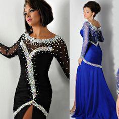 2015 Sexy Brand Black Royal Blue Crystal Long Sleeve Evening Dress Chiffon Mermaid Prom Gowns E6189