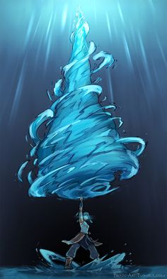 Avatar state Korra...I'm loving the giant water drill...Gurren Laagan style!