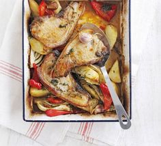 One-pot roast pork chops with fennel & potatoes recipe - Recipes - BBC Good Food- double vegs, pork wasn't exciting, can fry it Fennel Recipes, Potato Recipes, Pork Recipes, Cooking Recipes, Savoury Recipes, Irish Recipes, Roast Pork Chops, Healthy Foods To Eat, Healthy Recipes