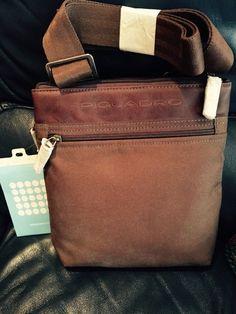PIQUADRO BROWN Shoulder Crossbody small bag man Fabric/LeatherTrim #Piquadro #Shoulderbag