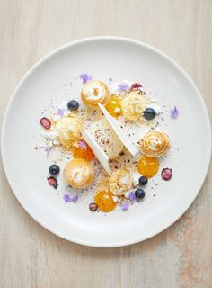 Lemon meringue, passionfruit, blueberry, white chocolate and lavender come together in this complex and stunning dessert, taken from Simon Wright's latest cookbook, 'Saison: A Year at the French Café'.