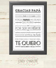 Descarga directa - Lámina Día del Padre *Gracias* -  Lámina Digital Imprimible