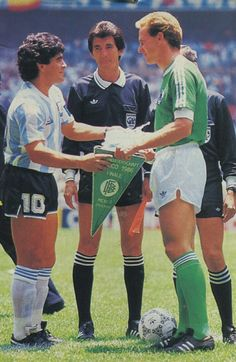 Argentina 3 West Germany 2 in 1986 in Mexico City. The two captains, Diego Maradona and Karl-Heinz Rummenigge, meet before the World Cup Final.