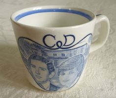 Royal Wedding Prince Charles and Lady Diana Spencer 1981 commemorative blue and white pottery mug by Adams A commemorative pottery mug by Adams of