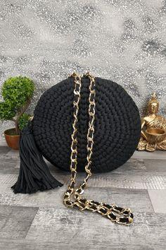 Τσαντάκι χειροποίητο πλεκτό 'Artemis' Μαύρο Womens Purses, Straw Bag, Bags, Fashion, Handbags, Moda, Dime Bags, Fasion, Totes