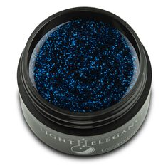 Light Elegance Glitter Coloured Gel Nautica 17ml. A dark blue glitter gel with lighter blue highlights. Cures in UV or LED