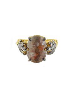 (CATHY WATERMAN)Rustic Diamond Oak Leafside Ring - Designer 22 Karat Gold