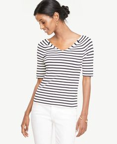 5b53d20306a78 Ann Taylor Striped Double V Sweater  fashion  style  love  shopping afflink  White