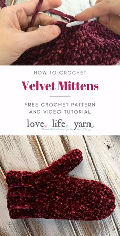Velvet Mittens - Free Crochet Pattern : Crochet this quick and easy pair of mittens with the free crochet pattern for the Velvet Mittens. Includes a full video tutorial to walk you through every step! Also includes knitted version. Crochet Mitts, Crochet Mittens Free Pattern, Crochet Gratis, Knit Mittens, Easy Crochet, Free Knitting, Crochet Stitches, Free Crochet, Knit Crochet