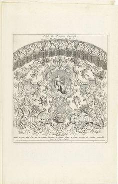 Bernard Picart | Statiekoets van de hertog van Ossuna, 1713, Bernard Picart, 1714 | Geborduurd kleed voor de onderkant van de gouden koets met Juno in de wolken. Onderdeel van een serie van 7 platen met de statiekoets van de Spaanse gezant de hertog van Ossuna, gebruikt bij zijn openbare intocht in Utrecht voor de vredesonderhandelingen in 1713. Genummerd rechtsonder: 4.
