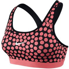 Nike Pro Classic Dot Print Sports Bra , Pink/Black ($40) ❤ liked on Polyvore featuring activewear, sports bras, yoga activewear, pink sports bra, nike sports bra, nike and nike sportswear