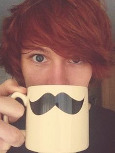 charlieissocoollike, and a mustache mug. Ooooh the red hair days when charlie wasnt an adult yet and was extremely attractive.....