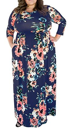 06792aa6508 online shopping for Delcoce Womens Sleeve Floral Print Maxi Party Dresses  Plus Size With Pockets from top store. See new offer for Delcoce Womens  Sleeve ...