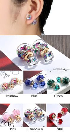1b1630491d75 Cute Colorful Crystal Bubble Transparent Ball Earrings Studs only  9.99.  BijouBOUCLES ...