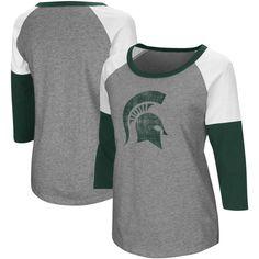 Indiana Hoosiers Colosseum Women's P-Bars Three-Quarter Sleeve Raglan T-Shirt - Gray/Crimson Michigan State Spartans, Florida State Seminoles, Oklahoma Sooners, Iowa Hawkeyes, Kentucky Wildcats, Florida Gators, Raglan T-shirt, Alabama Crimson Tide, Football Shirts
