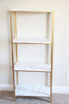Ikea Hyllis Shelf Unit into marble and gold shelves. i would do black and stained wood, but same principal. Diy Hanging Shelves, Floating Shelves Diy, Gold Shelves, Gold Bookshelf, White Shelves, Diy Home Decor Projects, Decor Ideas, Wood Projects, Wall Ideas