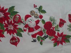 Vintage Tablecloth Santa Christmas bows bells candy cane shiny bright ex HOLIDAY